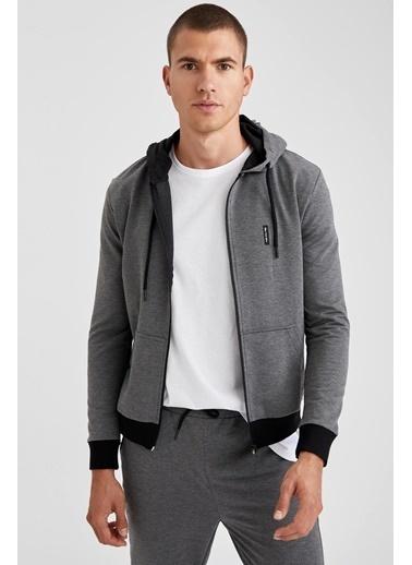 Defacto –Fit Kapüşonlu Fermuarlı Slim Fit Sweatshirt Antrasit